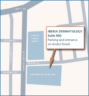 Iberia Dermatology, Suite 600. Parking and entrance on Andre Street.